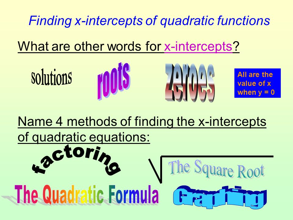 Finding x-intercepts of quadratic functions