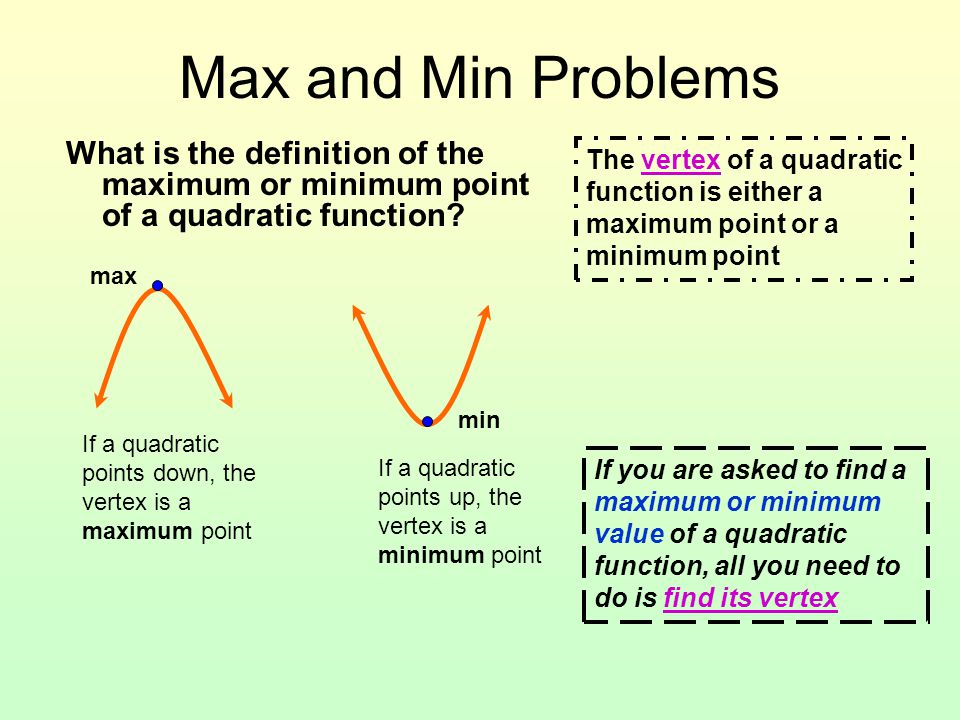 Max and Min Problems What is the definition of the maximum or minimum point of a quadratic function