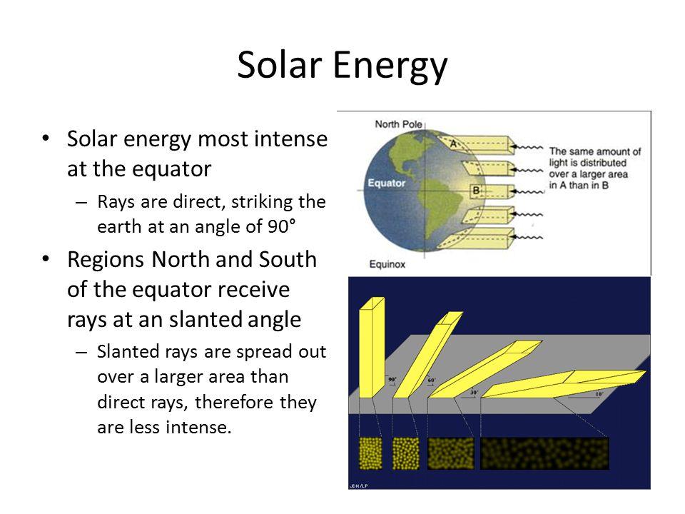Solar Energy Solar energy most intense at the equator