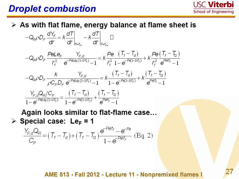 AME 513 - Fall 2012 - Lecture 11 - Nonpremixed flames I