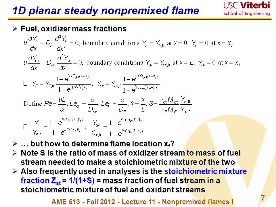 1D planar steady nonpremixed flame