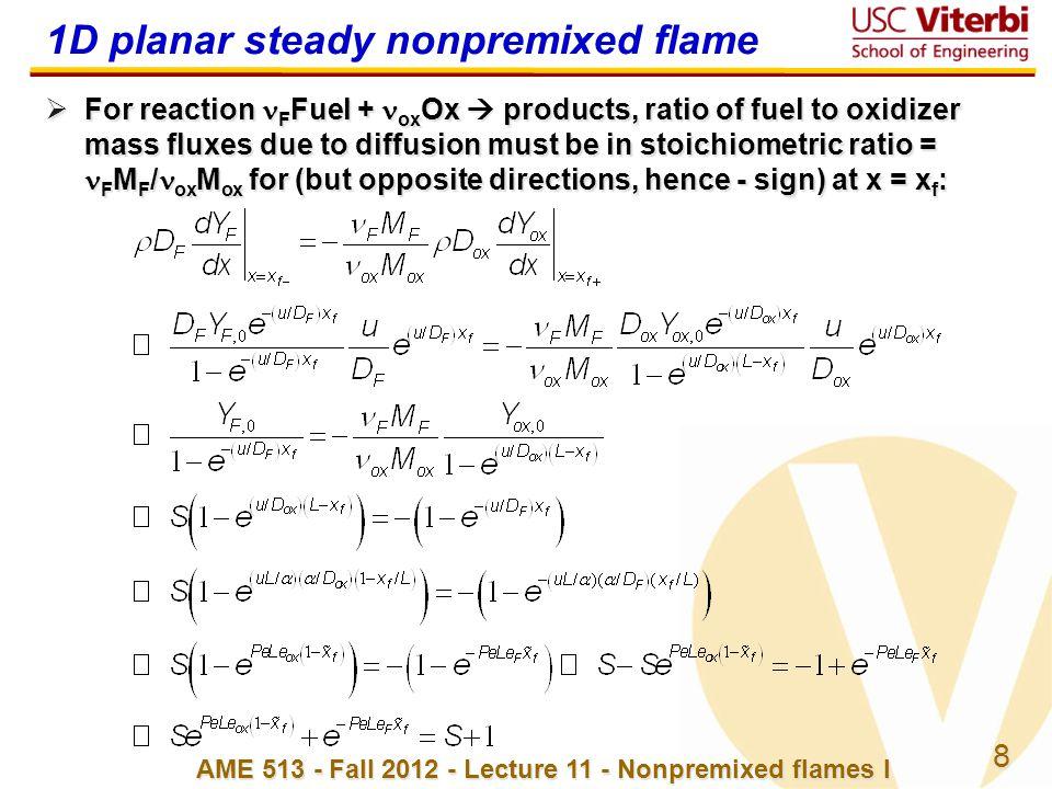 1D planar steady nonpremixed flame