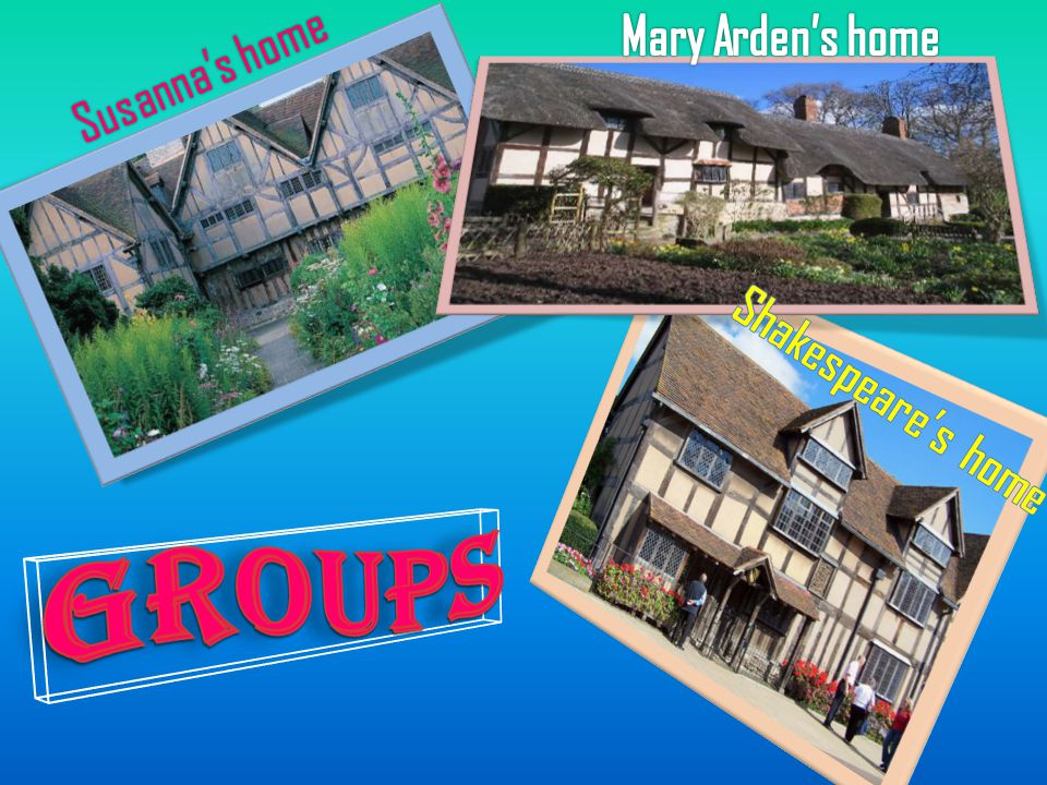Mary Arden's home Susanna's home Shakespeare's home Groups