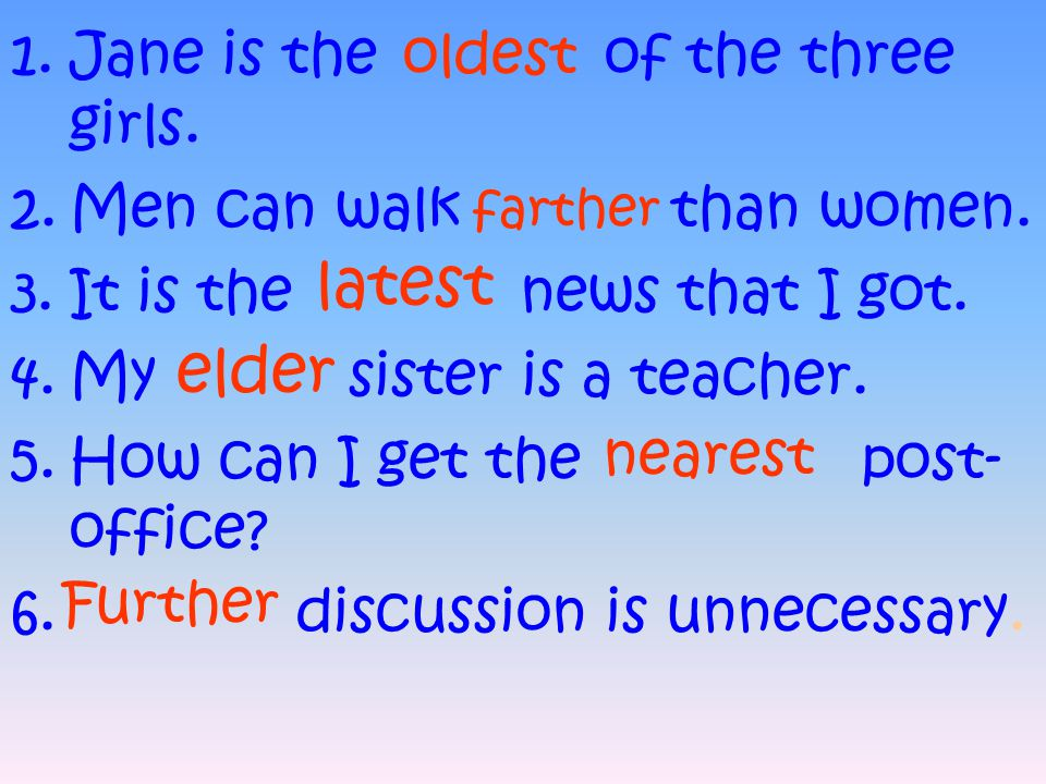 latest elder Jane is the of the three girls. Men can walk than women.