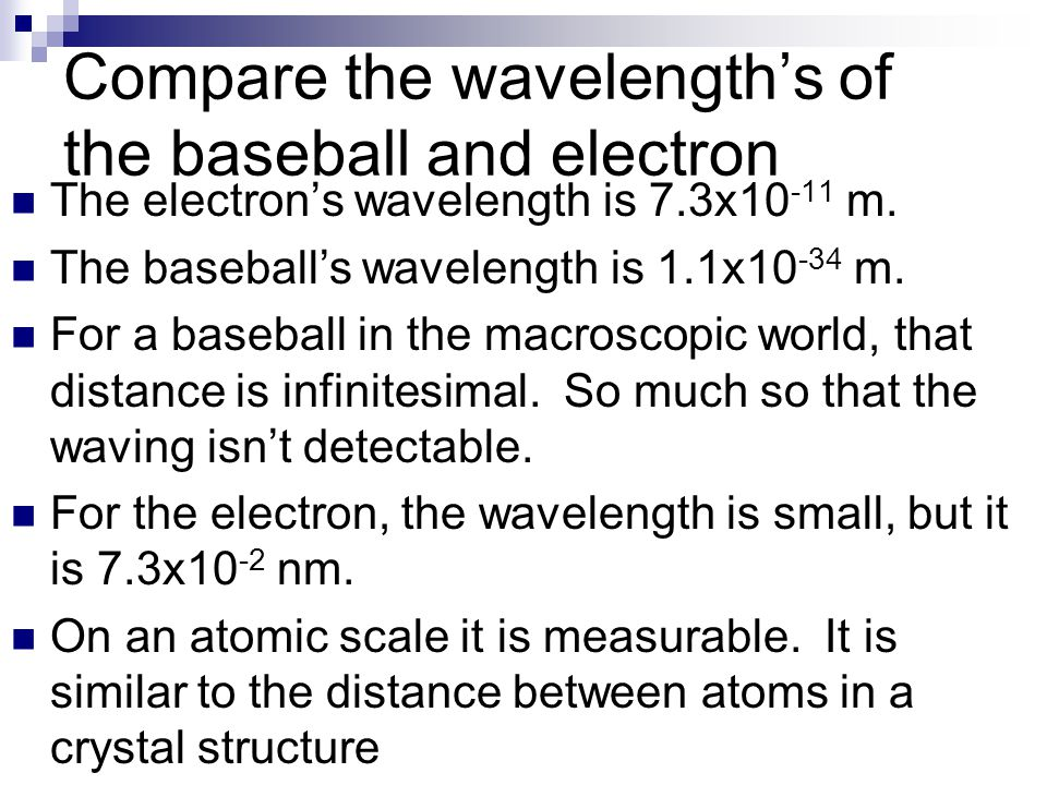 Compare the wavelength's of the baseball and electron