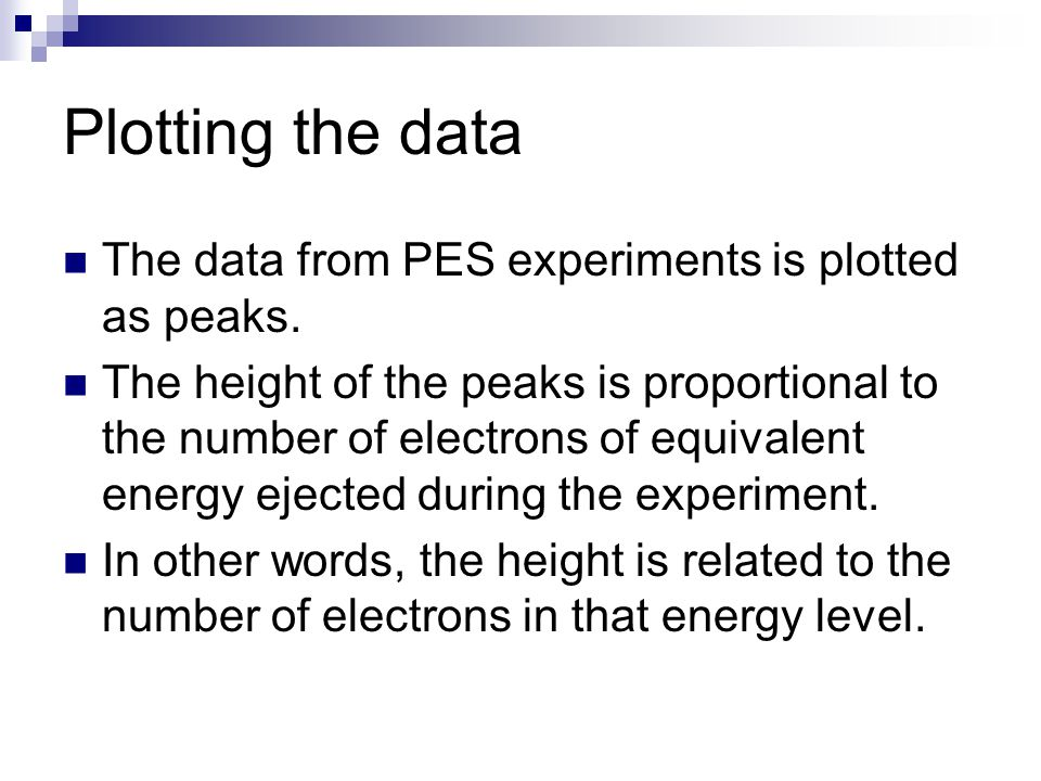Plotting the data The data from PES experiments is plotted as peaks.