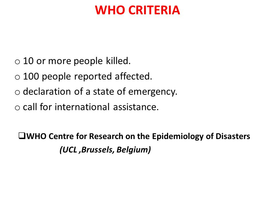 WHO Centre for Research on the Epidemiology of Disasters
