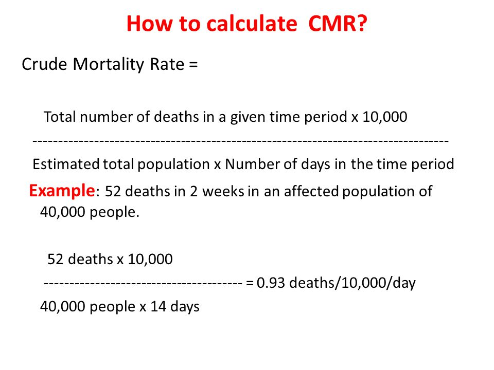 How to calculate CMR Crude Mortality Rate =