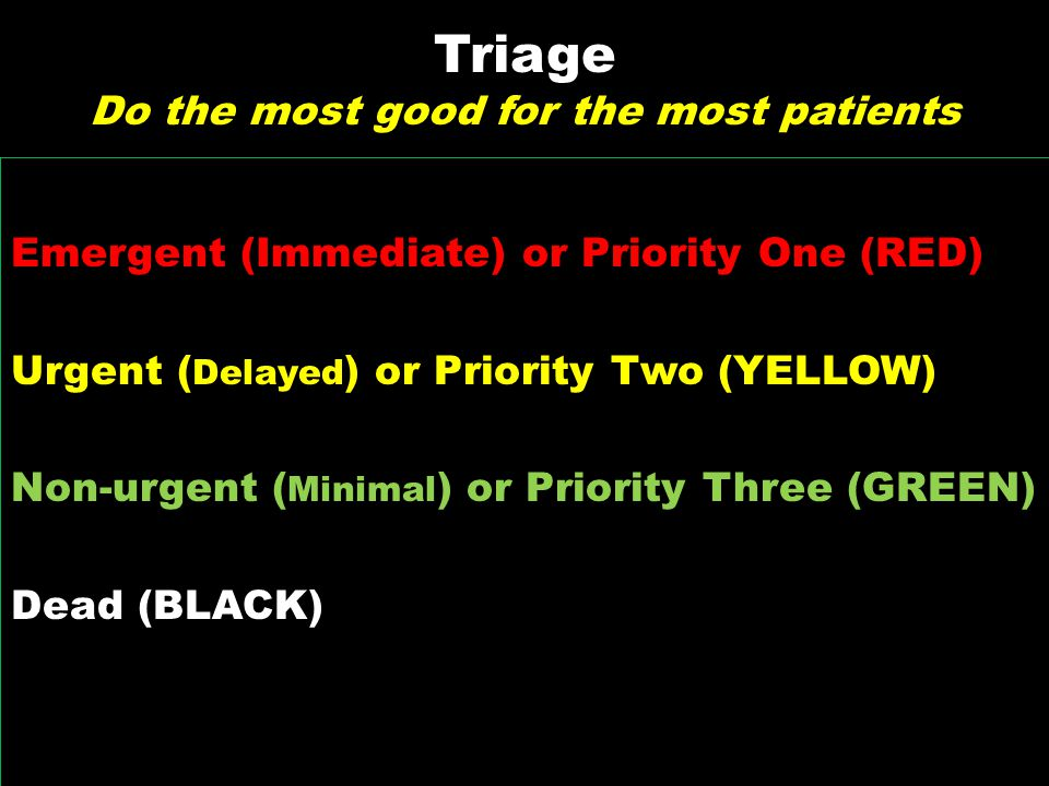 Triage Do the most good for the most patients