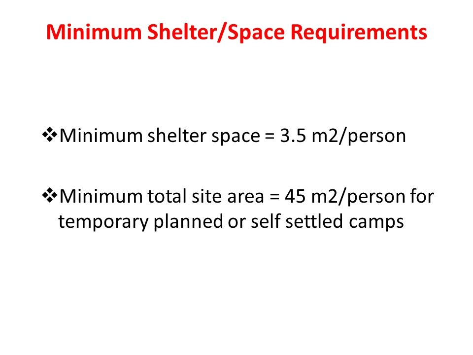 Minimum Shelter/Space Requirements