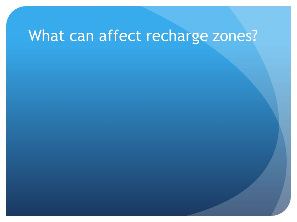 What can affect recharge zones