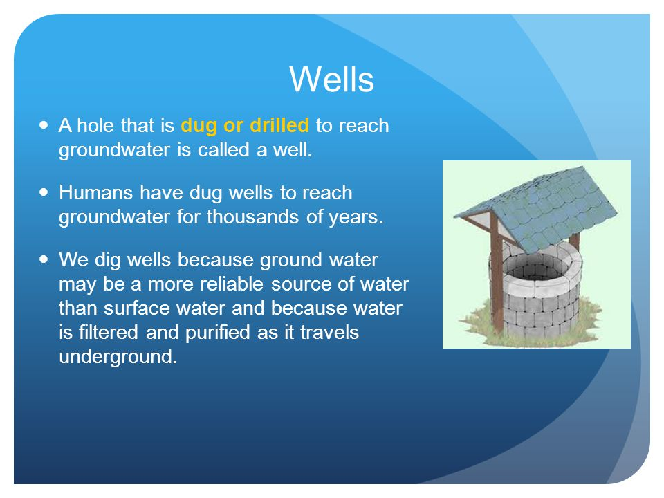 Wells A hole that is dug or drilled to reach groundwater is called a well. Humans have dug wells to reach groundwater for thousands of years.