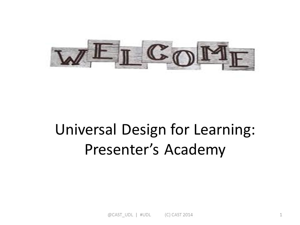 Universal Design for Learning: Presenter's Academy