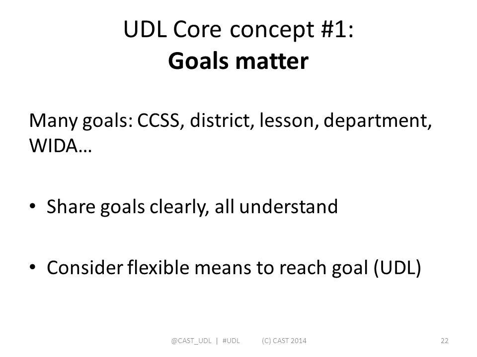 UDL Core concept #1: Goals matter