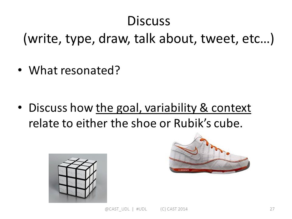 Discuss (write, type, draw, talk about, tweet, etc…)