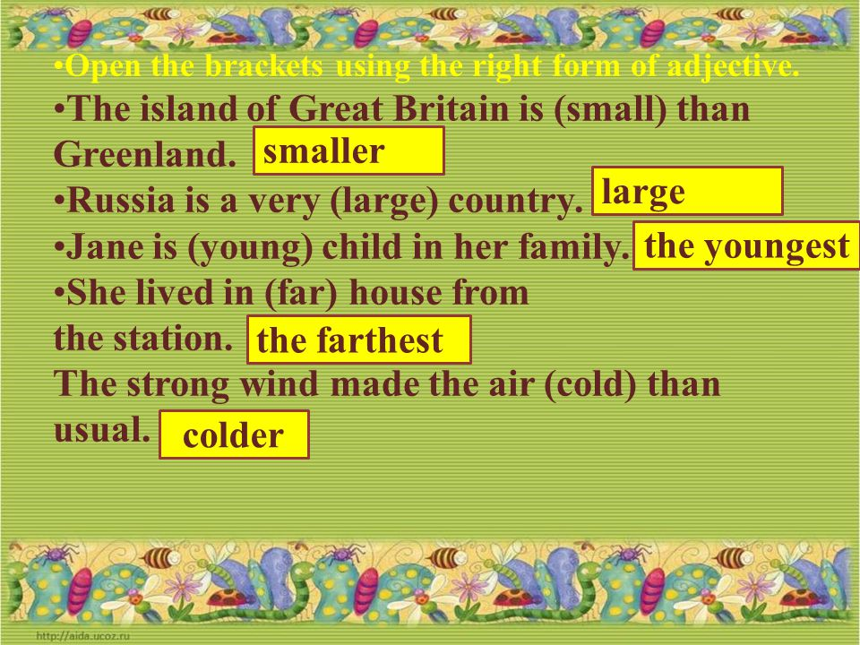The island of Great Britain is (small) than Greenland.