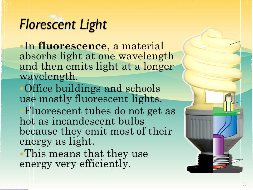 Florescent Light In fluorescence, a material absorbs light at one wavelength and then emits light at a longer wavelength.
