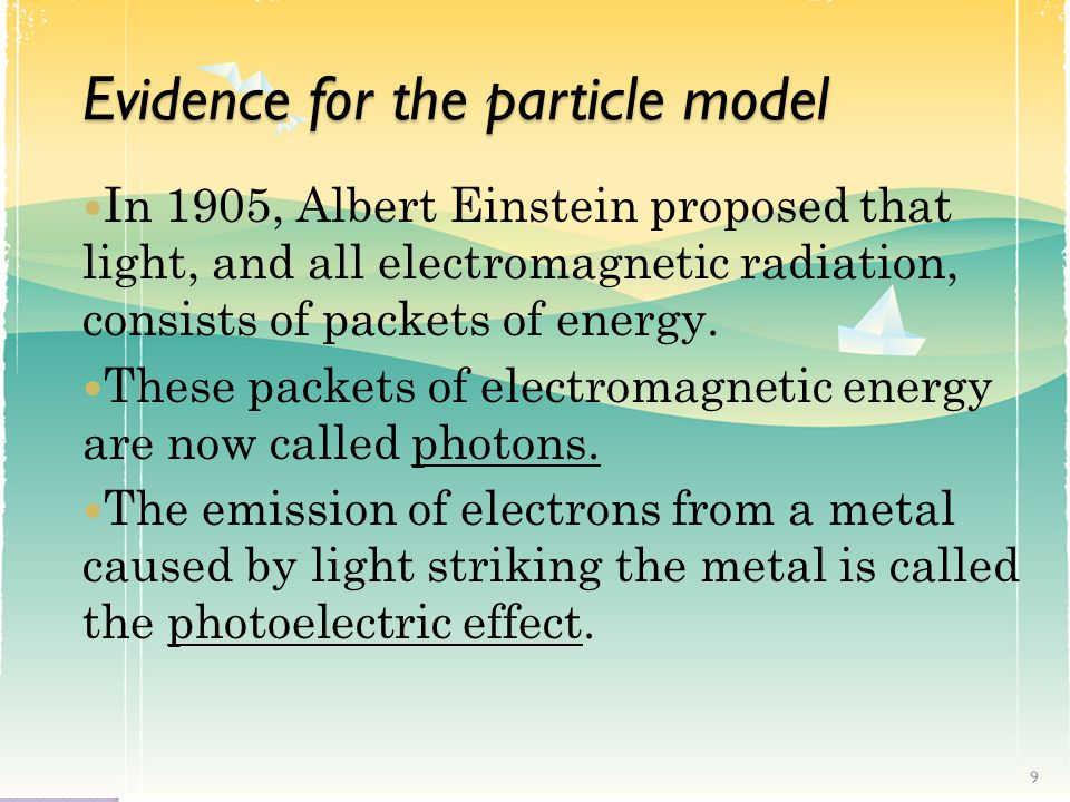 Evidence for the particle model