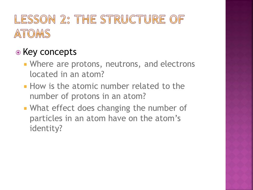 Lesson 2: the structure of atoms