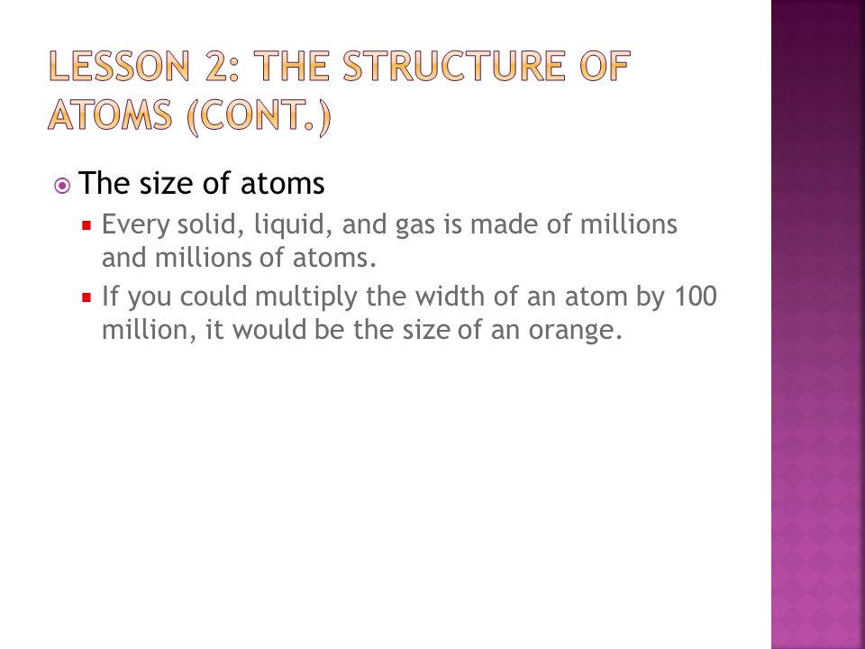 Lesson 2: the structure of atoms (cont.)