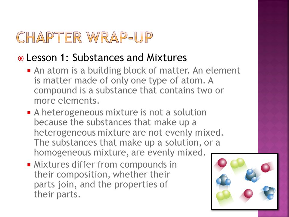 Chapter wrap-up Lesson 1: Substances and Mixtures