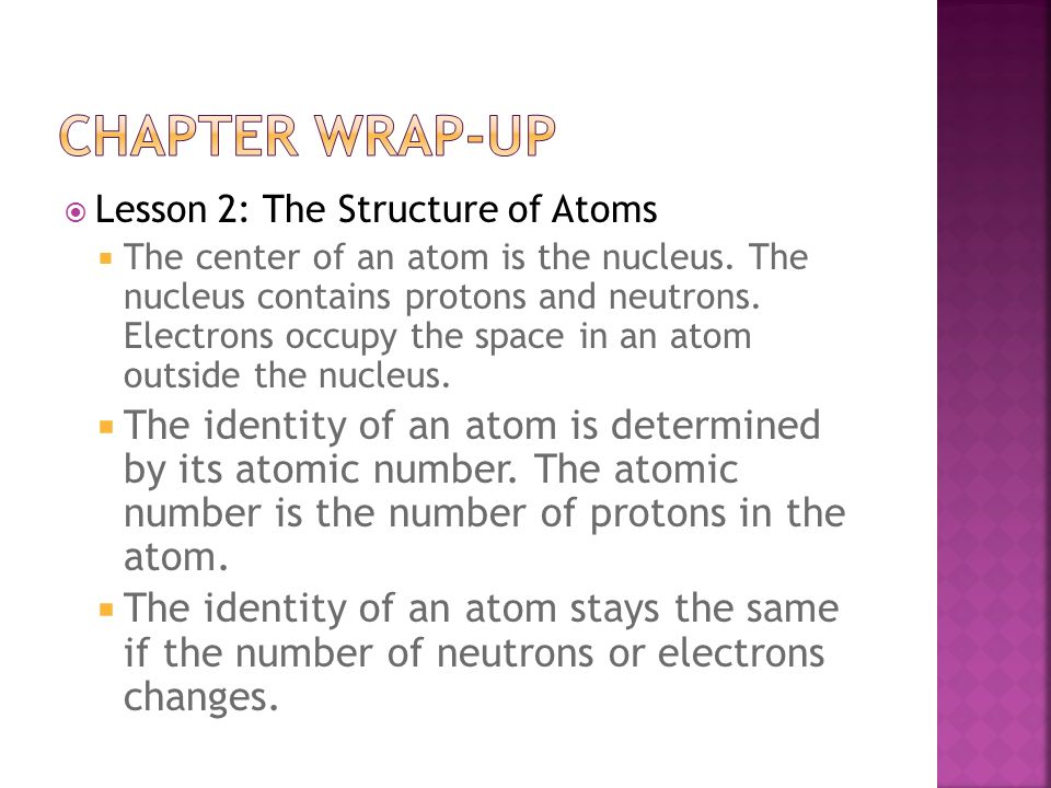 Chapter wrap-up Lesson 2: The Structure of Atoms.
