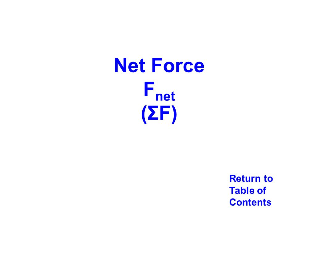 Net Force Fnet (ΣF) Return to Table of Contents