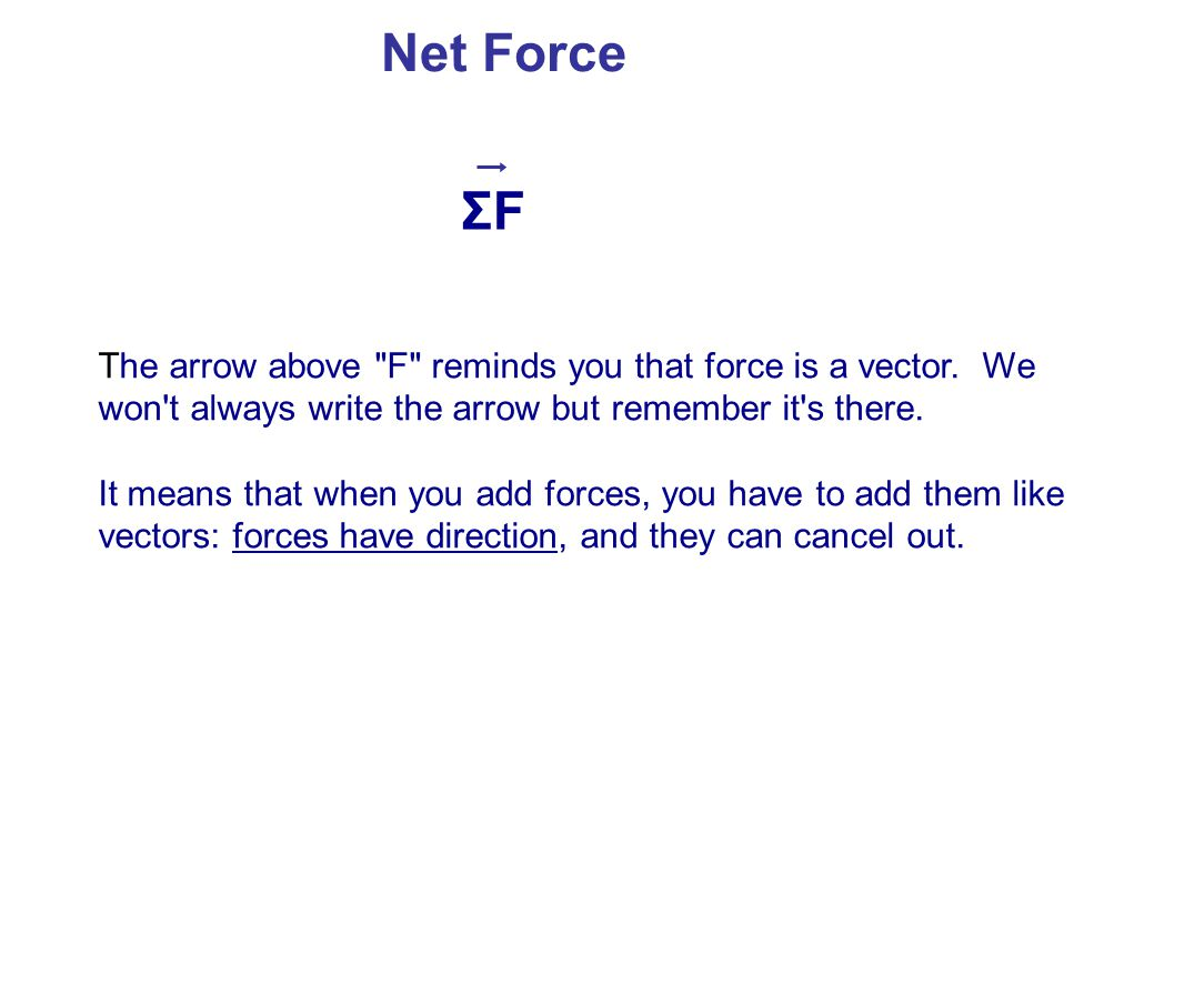 Net Force ΣF. The arrow above F reminds you that force is a vector. We won t always write the arrow but remember it s there.