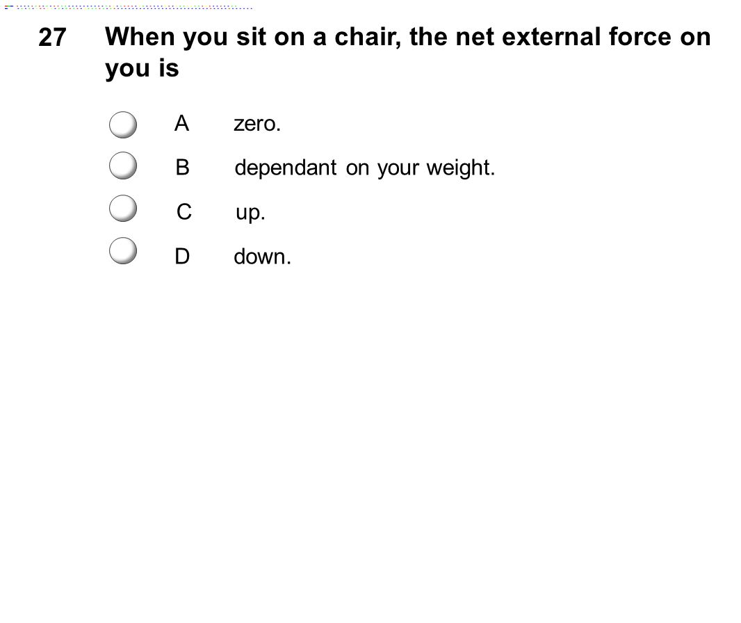 When you sit on a chair, the net external force on you is