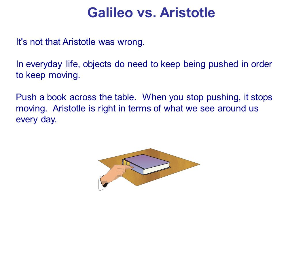 Galileo vs. Aristotle It s not that Aristotle was wrong.