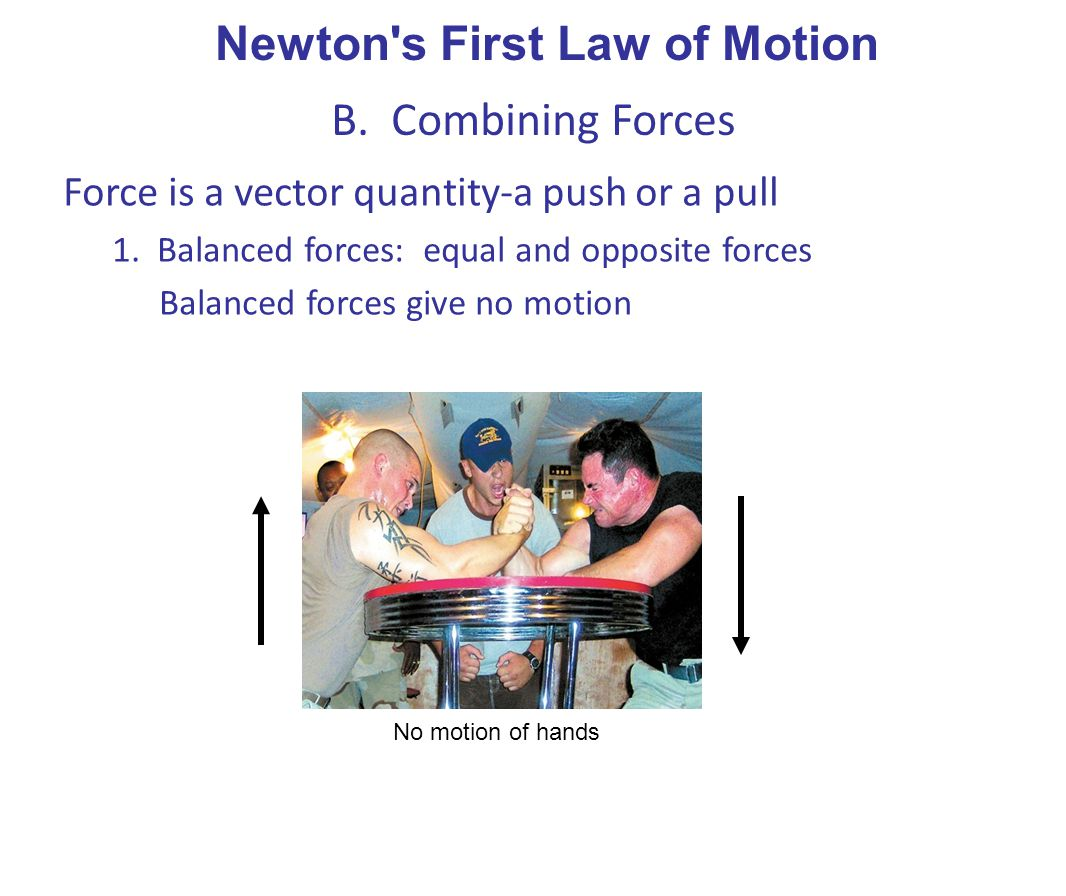 Newton s First Law of Motion B. Combining Forces