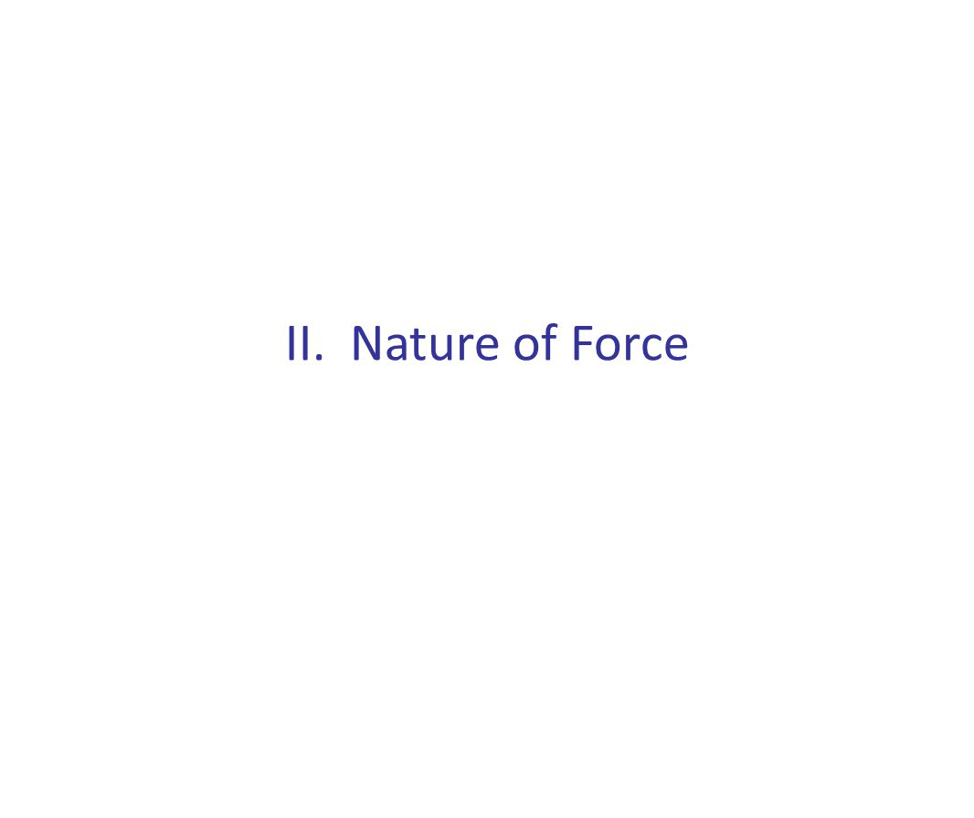II. Nature of Force
