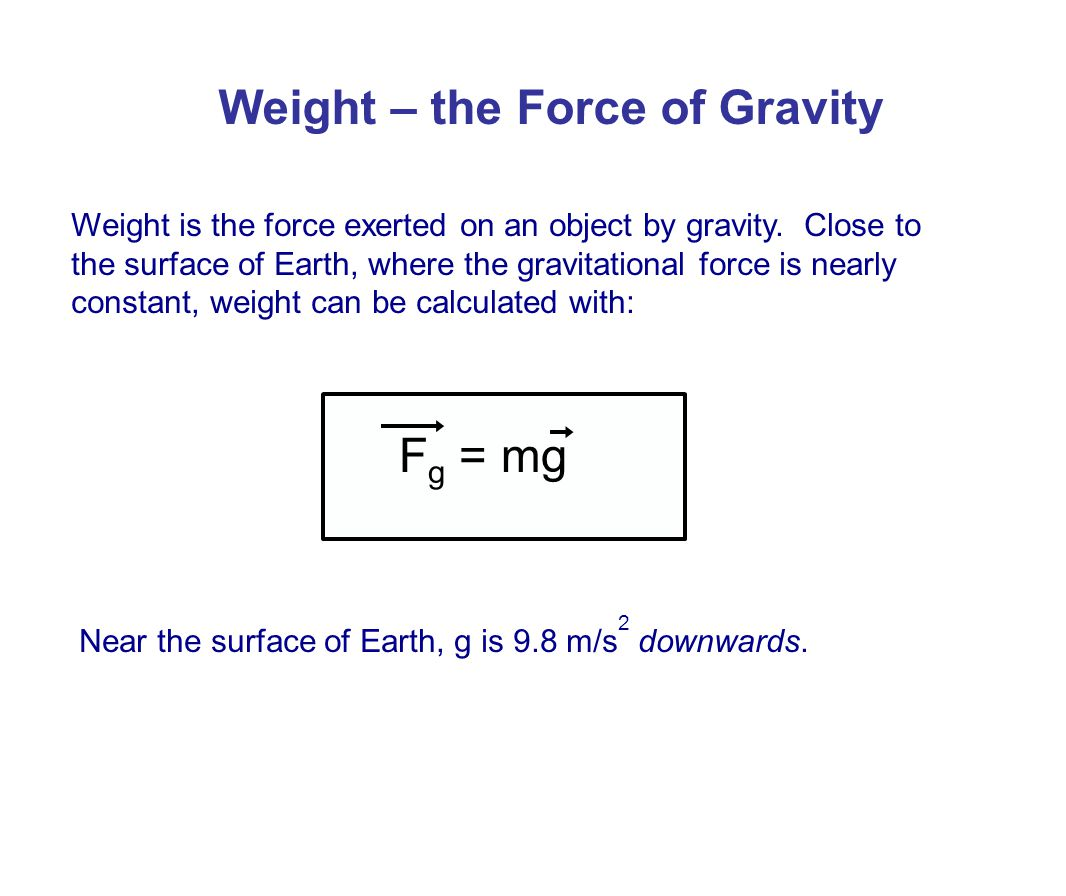 Weight – the Force of Gravity