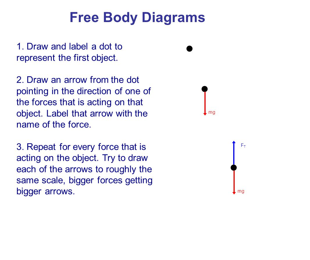 Free Body Diagrams 1. Draw and label a dot to represent the first object.