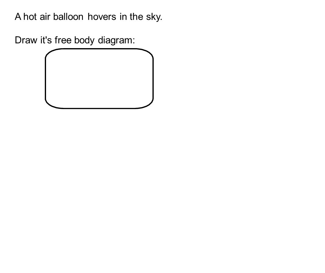 A hot air balloon hovers in the sky. Draw it s free body diagram: