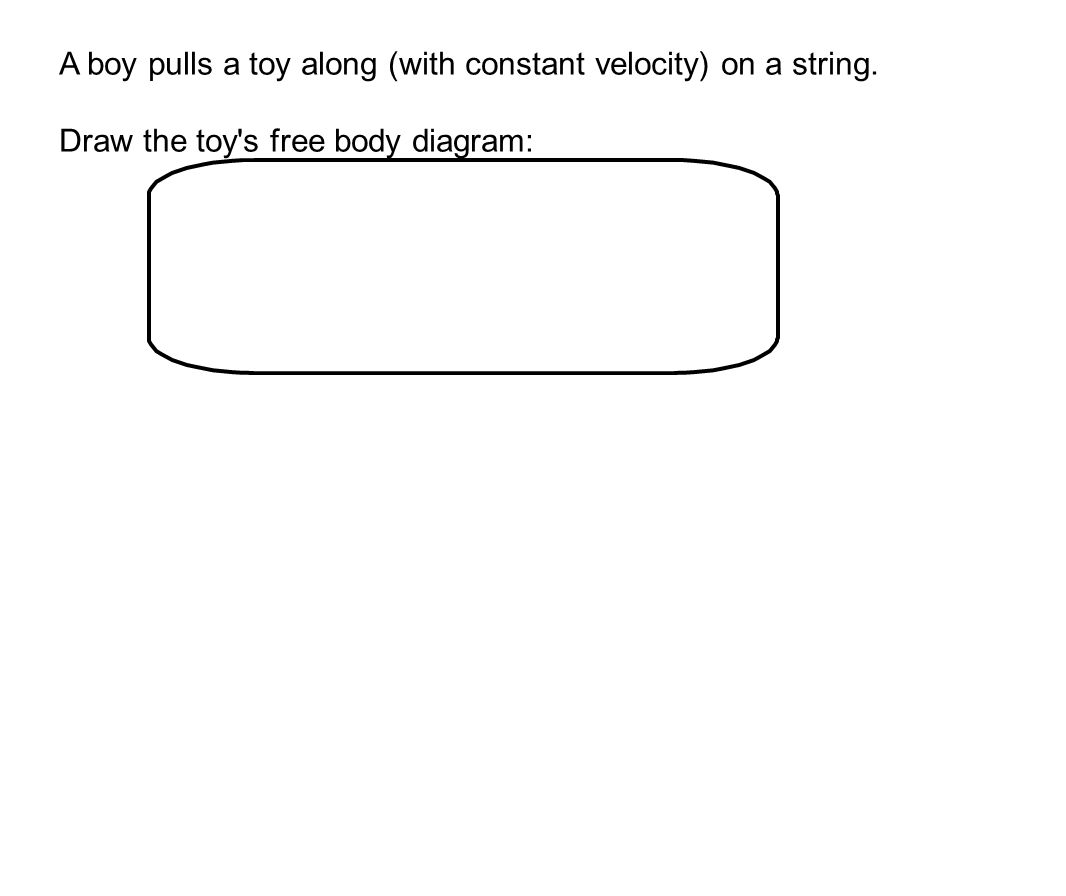 A boy pulls a toy along (with constant velocity) on a string.