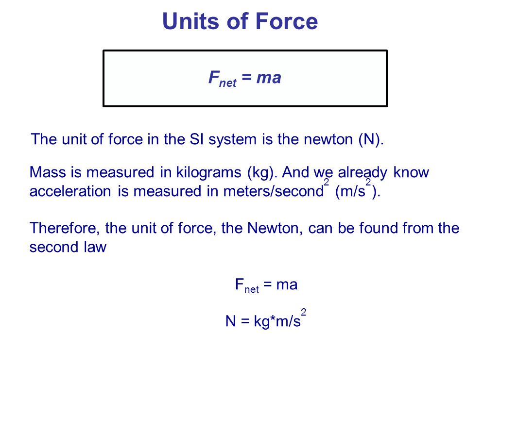 Units of Force Fnet = ma. The unit of force in the SI system is the newton (N).