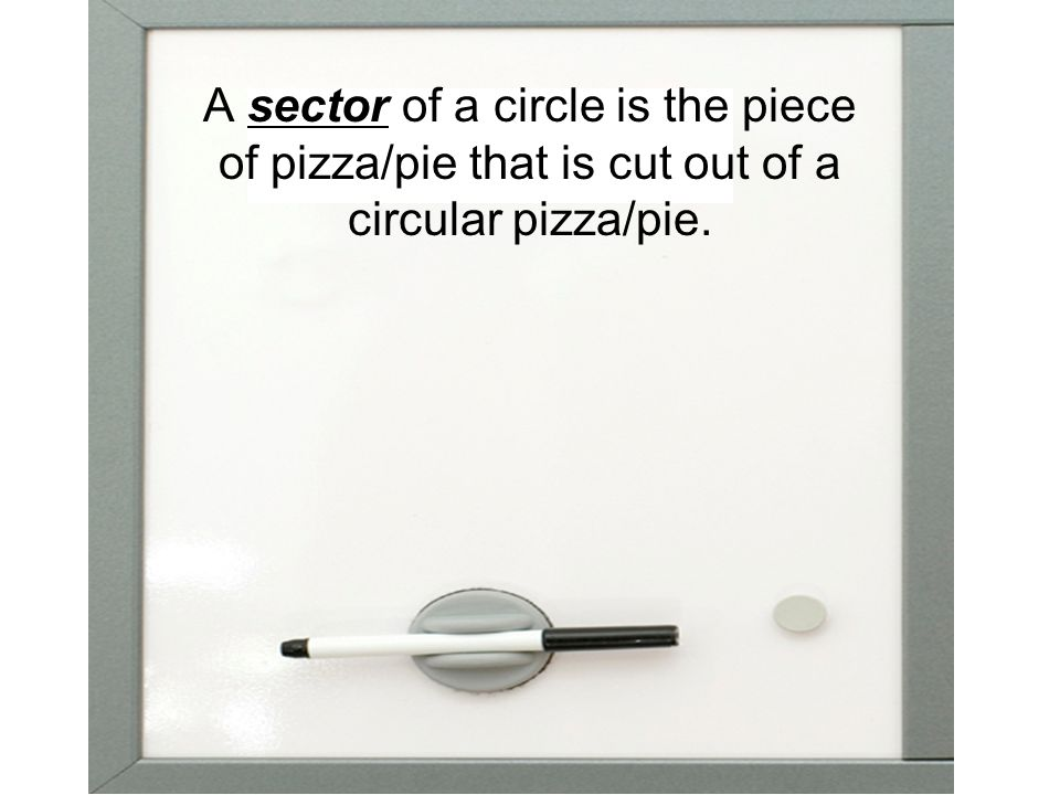 A sector of a circle is the piece of pizza/pie that is cut out of a circular pizza/pie.