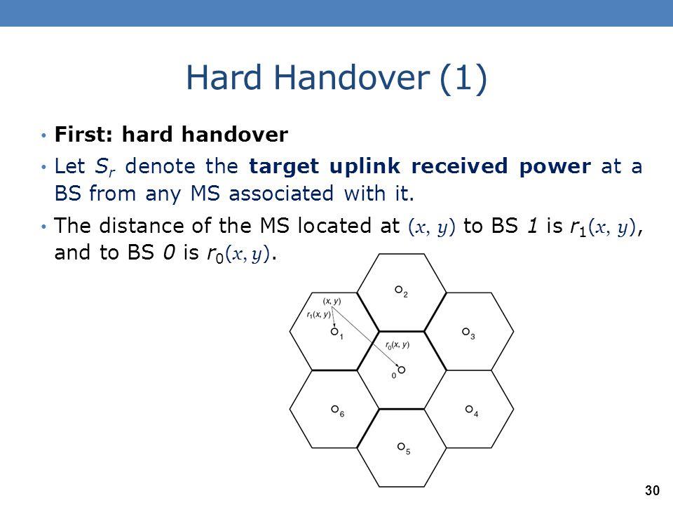 Hard Handover (1) First: hard handover