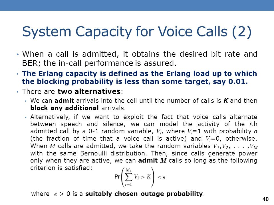 System Capacity for Voice Calls (2)