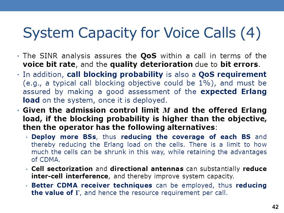 System Capacity for Voice Calls (4)
