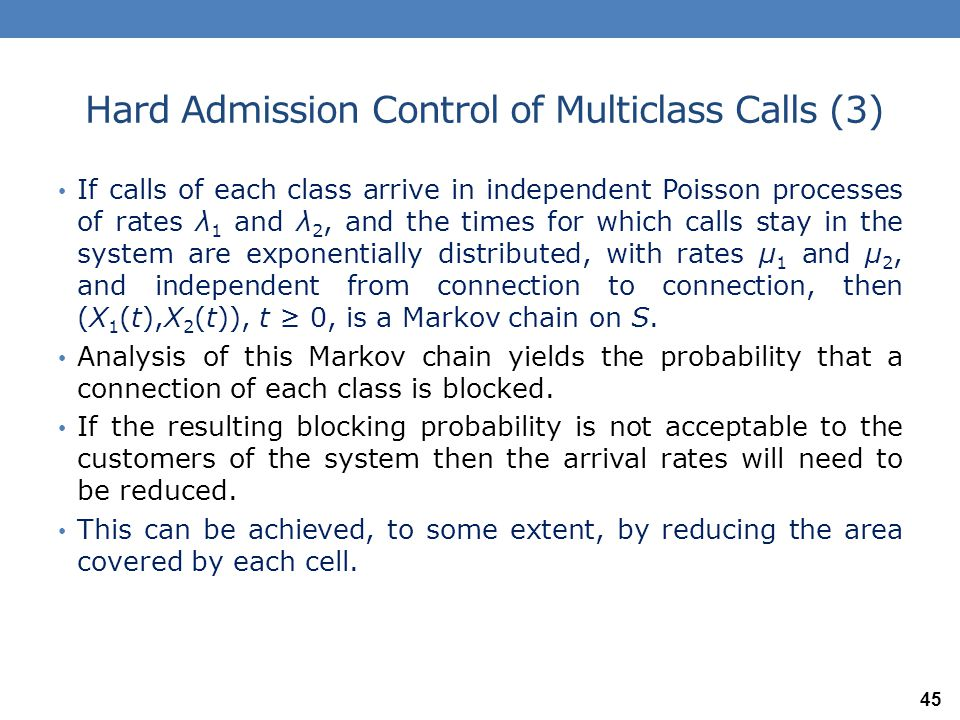 Hard Admission Control of Multiclass Calls (3)