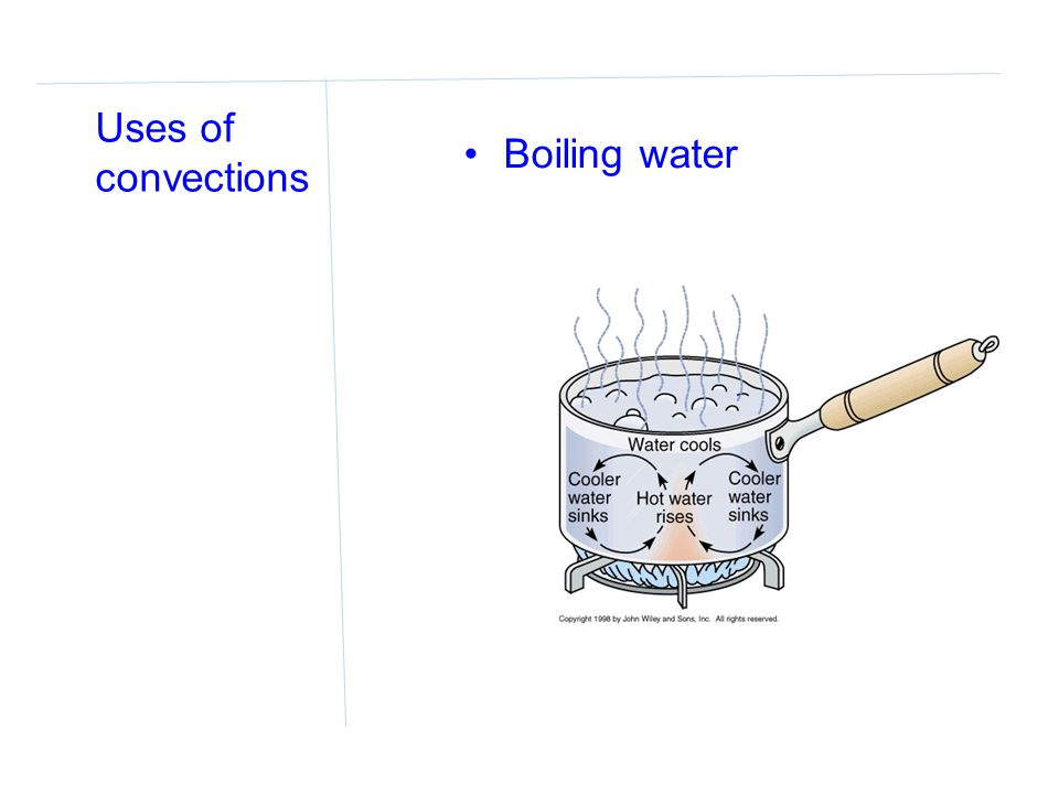 Uses of convections Boiling water