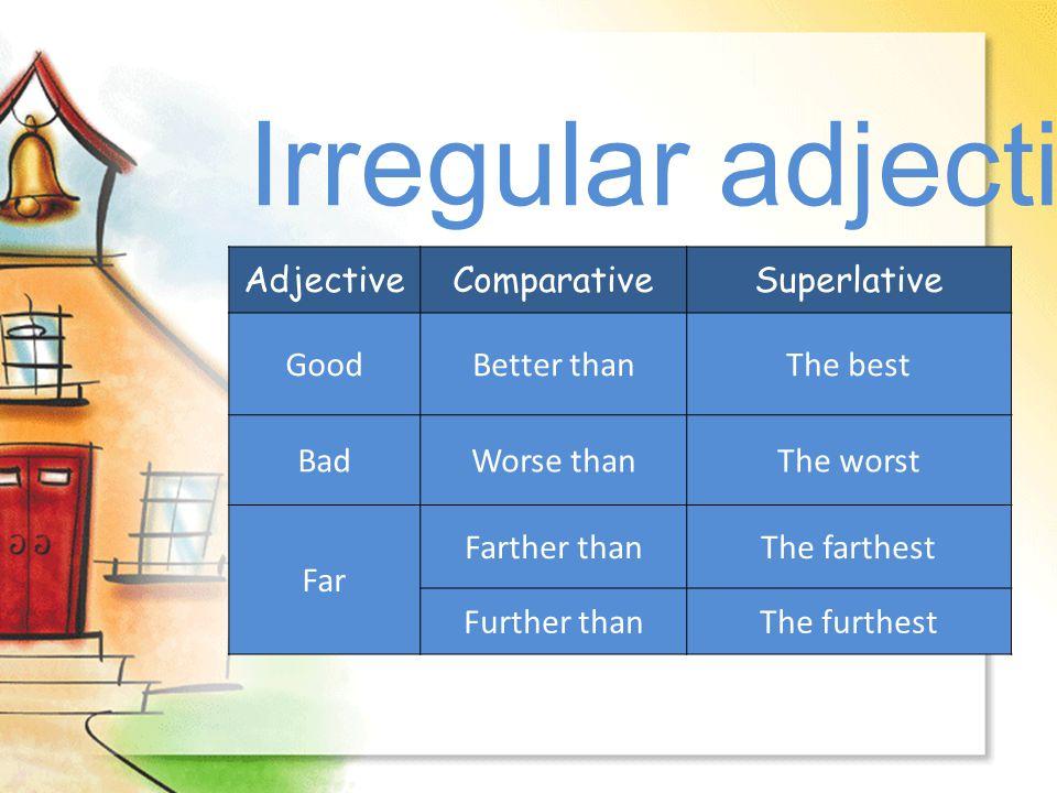 Irregular adjectives... Adjective Comparative Superlative Good