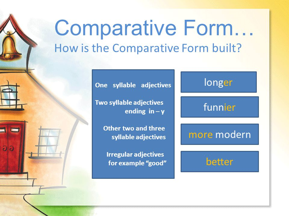 Comparative Form… How is the Comparative Form built longer funnier