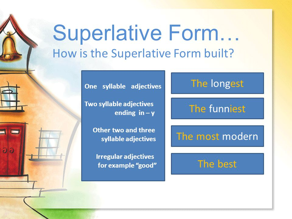Superlative Form… How is the Superlative Form built The longest
