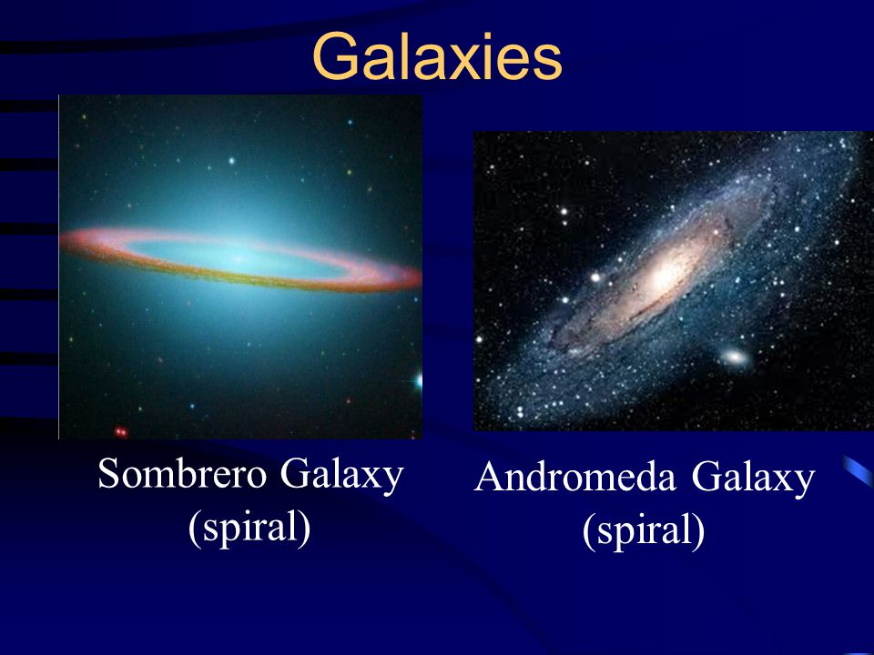 Galaxies Sombrero Galaxy (spiral) Andromeda Galaxy (spiral)