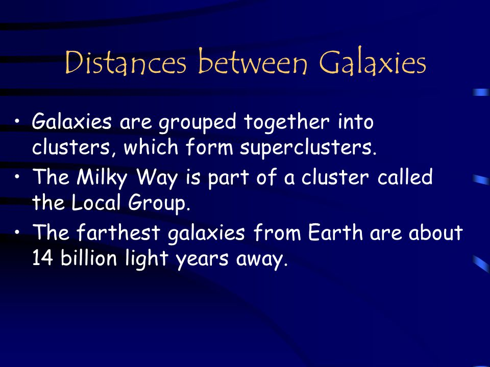 Distances between Galaxies