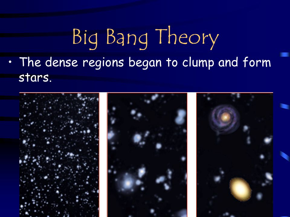 Big Bang Theory The dense regions began to clump and form stars.