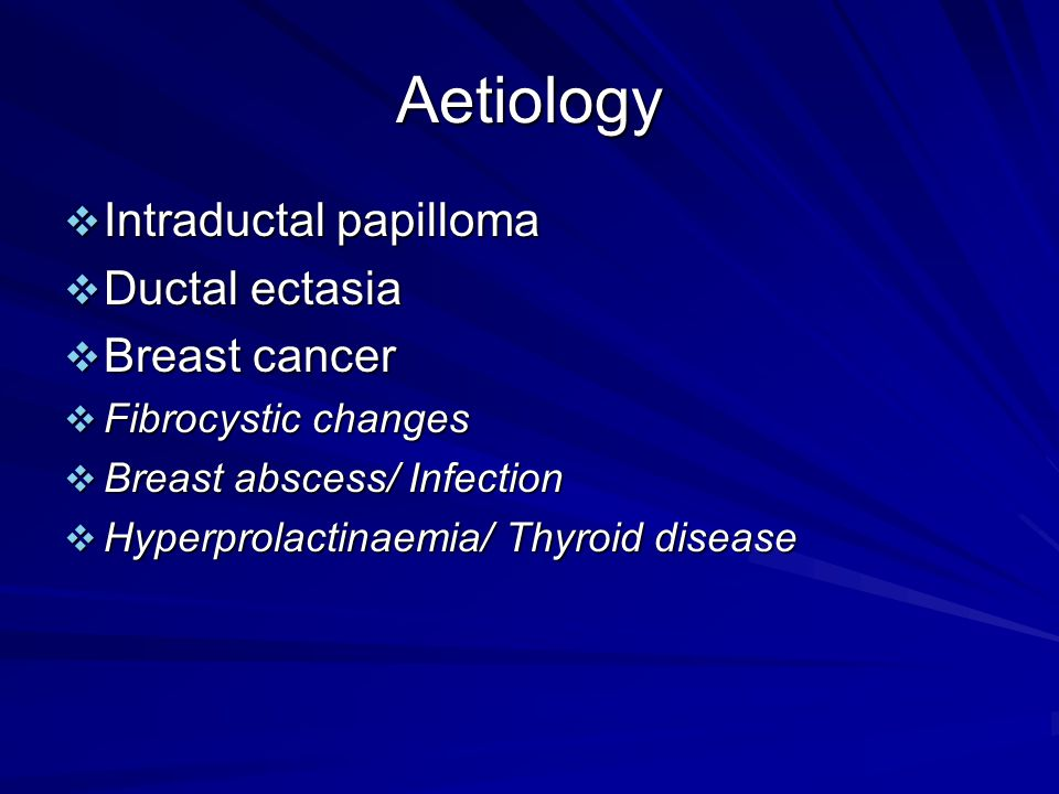 Aetiology Intraductal papilloma Ductal ectasia Breast cancer